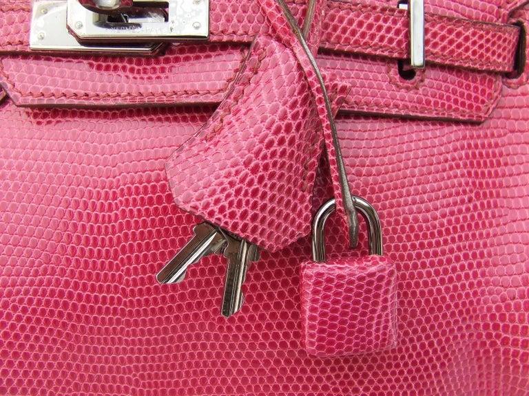 416680ebc862 Women s HERMES Birkin bag Fuchsia Pink Lizard Silver HDW 25 cm Rare and  Coveted For Sale