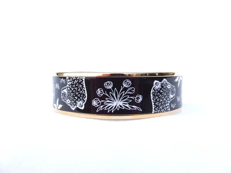 Hermes Enamel Printed Bracelet Leopards Black White Rose Gold Hdw Size 65 2