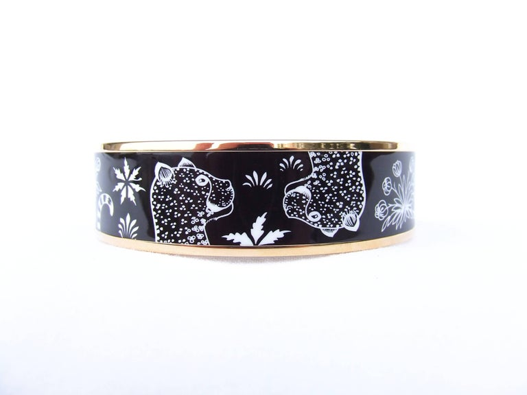 Hermes Enamel Printed Bracelet Leopards Black White Rose Gold Hdw Size 65 3