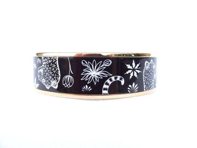 Hermes Enamel Printed Bracelet Leopards Black White Rose Gold Hdw Size 65 4