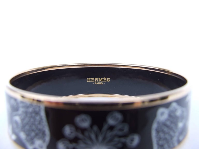 Hermes Enamel Printed Bracelet Leopards Black White Rose Gold Hdw Size 65 6