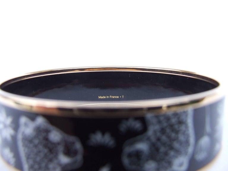 Hermes Enamel Printed Bracelet Leopards Black White Rose Gold Hdw Size 65 7