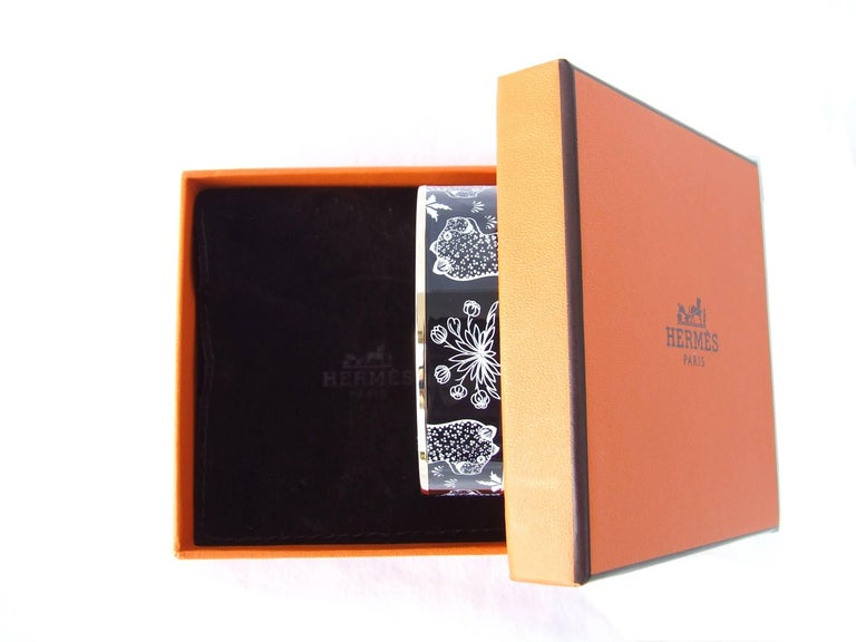 Hermes Enamel Printed Bracelet Leopards Black White Rose Gold Hdw Size 65 8