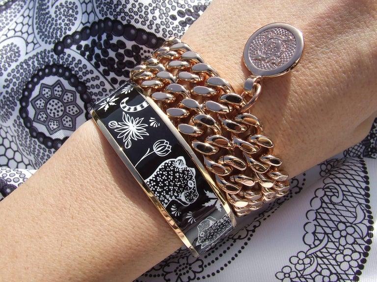 Hermes Enamel Printed Bracelet Leopards Black White Rose Gold Hdw Size 65 10