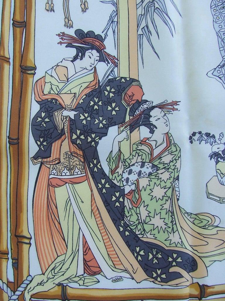 Gray RARE Collector HERMES Vintage Silk Scarf Geisha Japan Françoise Heron 1966 89 cm For Sale