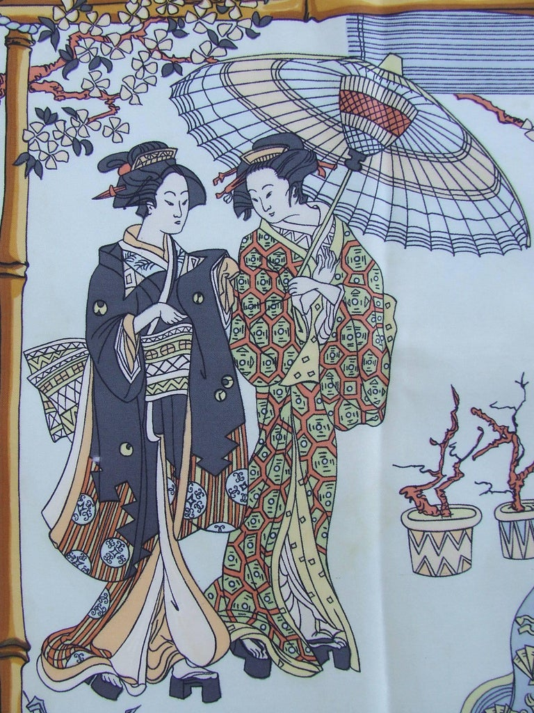 RARE Collector HERMES Vintage Silk Scarf Geisha Japan Françoise Heron 1966 89 cm In Good Condition For Sale In ., FR