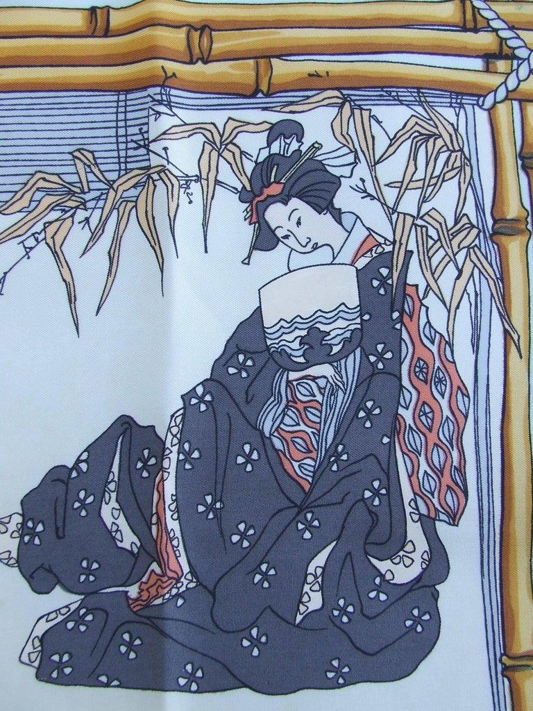Women's RARE Collector HERMES Vintage Silk Scarf Geisha Japan Françoise Heron 1966 89 cm For Sale