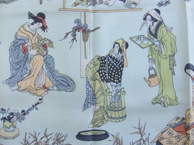 RARE Collector HERMES Vintage Silk Scarf Geisha Japan Françoise Heron 1966 89 cm For Sale 1