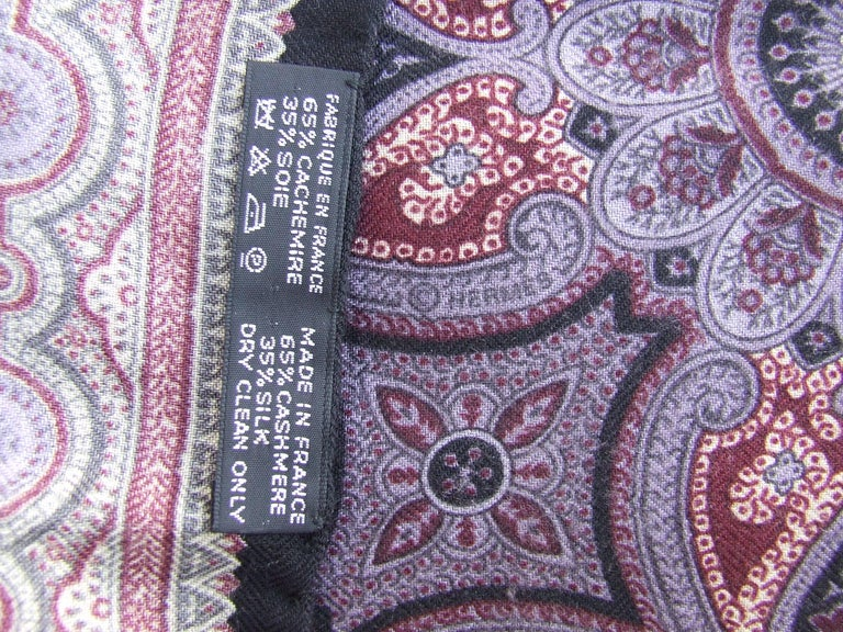 Gray Gorgeous Hermes Long Scarf Stole Pashmina Cashmere Silk Indian Pattern Purple For Sale