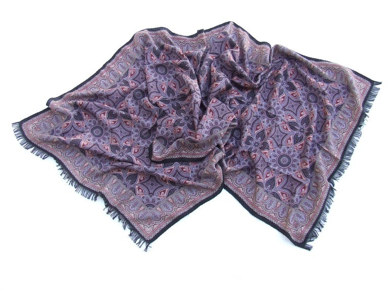 Gorgeous Hermes Long Scarf Stole Pashmina Cashmere Silk Indian Pattern Purple In New Condition For Sale In ., FR