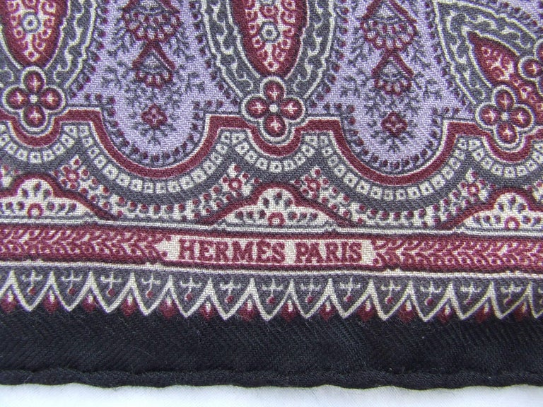 Women's Gorgeous Hermes Long Scarf Stole Pashmina Cashmere Silk Indian Pattern Purple For Sale