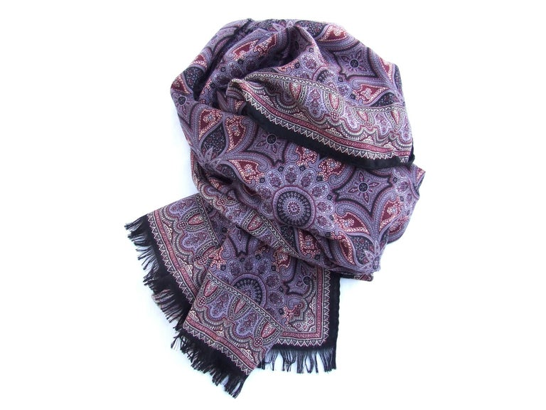 Gorgeous Hermes Long Scarf Stole Pashmina Cashmere Silk Indian Pattern Purple For Sale 4