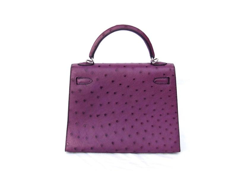 edc1134589fe Gray HERMES Kelly 25 Sellier Bag Ostrich Violine Palladium Hdw Aurtuche Purple  25 cm For Sale