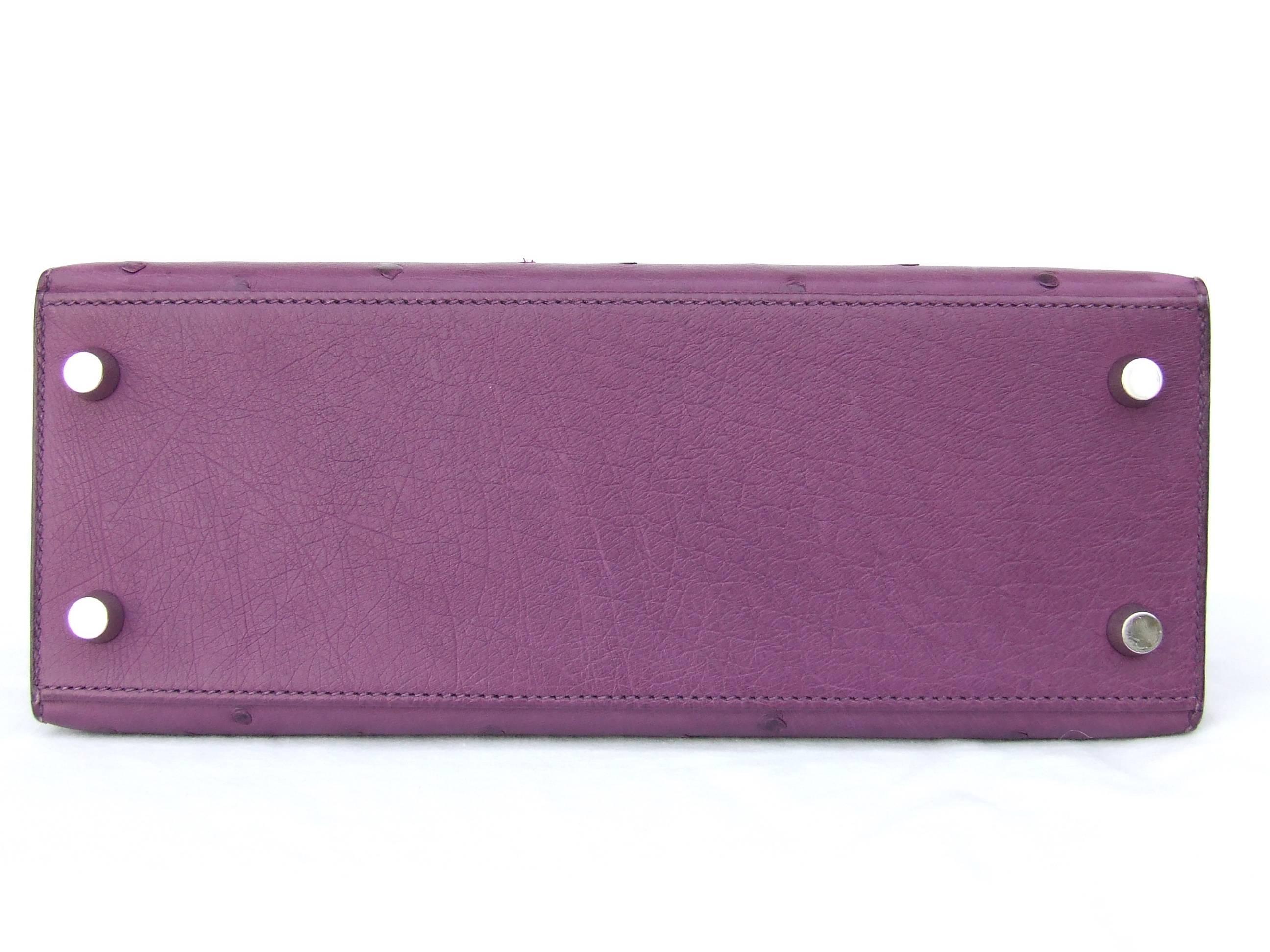 998ec81cdabd ... hot hermes kelly 25 sellier bag ostrich violine palladium hdw aurtuche purple  25 cm for sale
