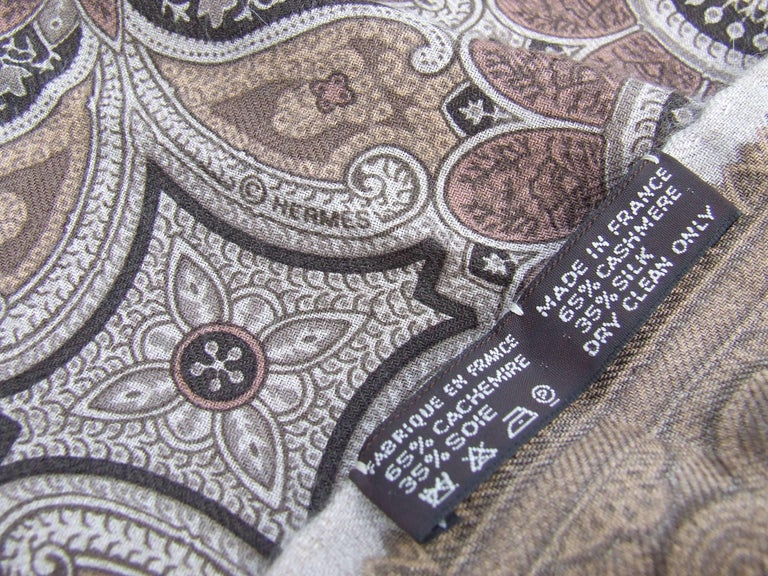 Hermes Long Scarf Stole Pashmina Cashmere Silk Indian Pattern Shades of Beige For Sale 3