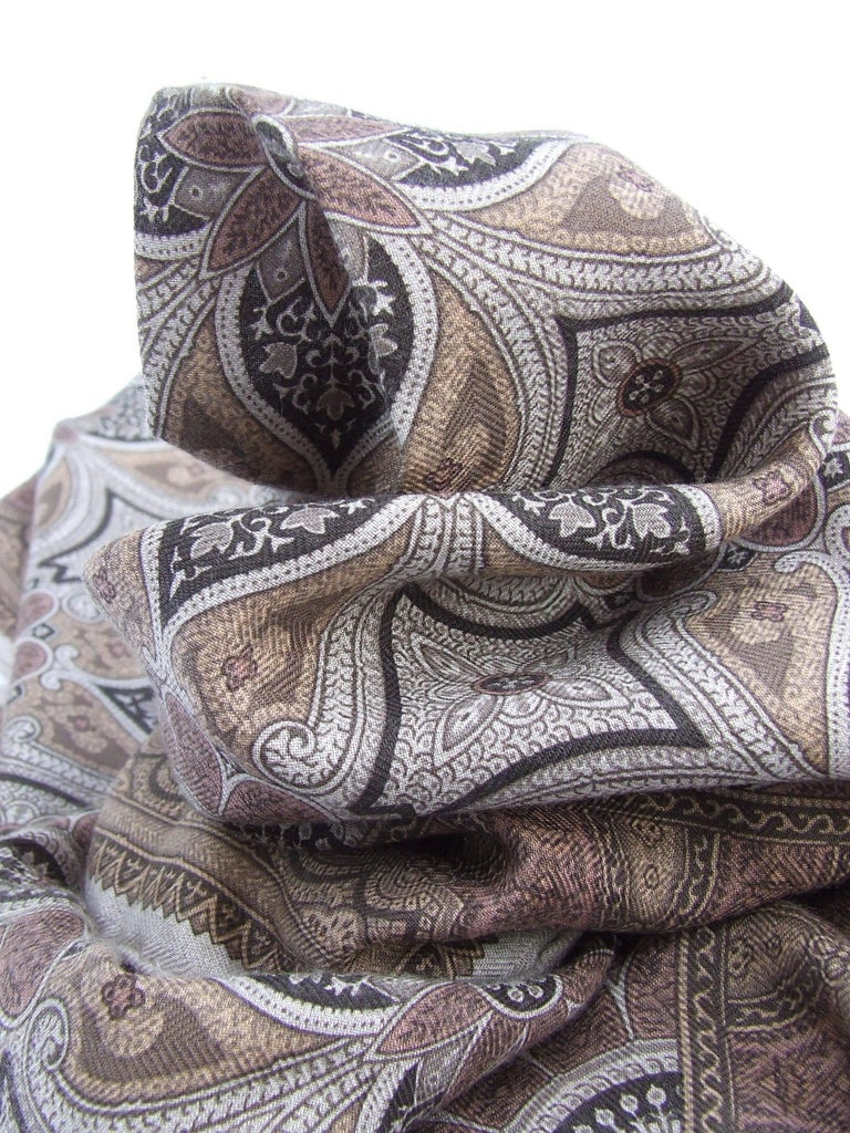 Hermes Long Scarf Stole Pashmina Cashmere Silk Indian Pattern Shades of Beige For Sale 5