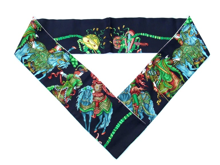 Beautiful Long Scarf  Handmade from authentic Hermes Scarves  Pattern: