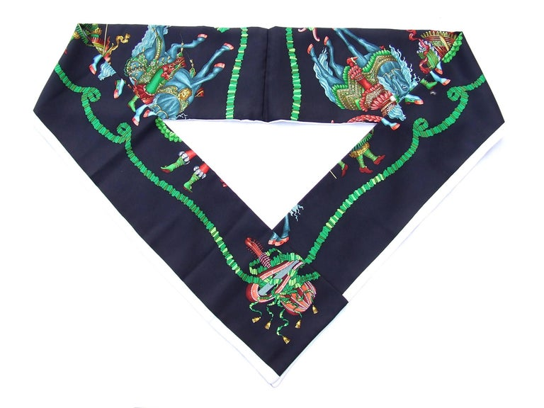 Black HERMES Long Silk Scarf Handmade Les Fetes du Roi Soleil Michel Duchene 1995 For Sale