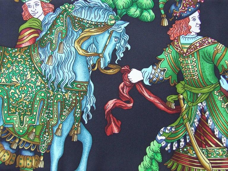 HERMES Long Silk Scarf Handmade Les Fetes du Roi Soleil Michel Duchene 1995 For Sale 1