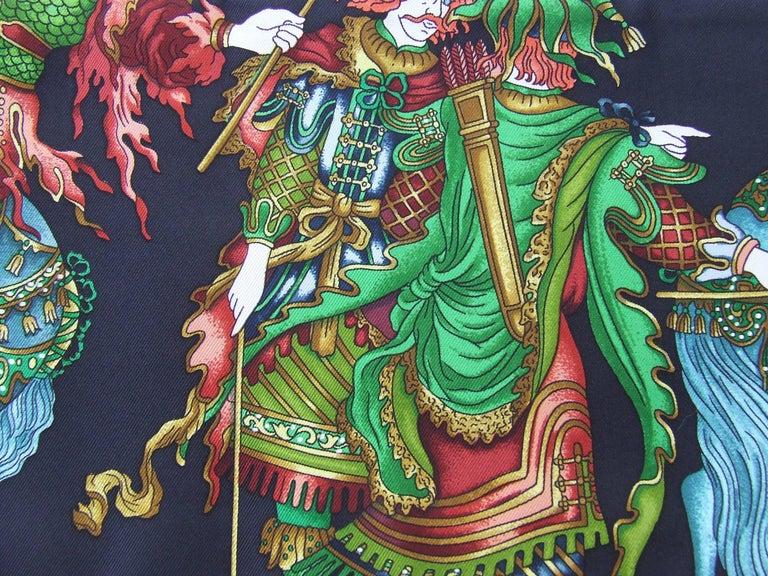 HERMES Long Silk Scarf Handmade Les Fetes du Roi Soleil Michel Duchene 1995 For Sale 2