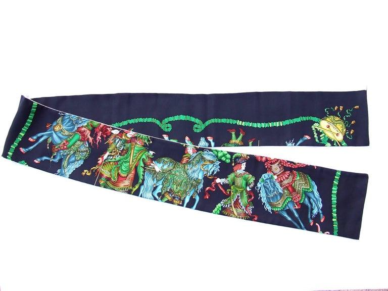 HERMES Long Silk Scarf Handmade Les Fetes du Roi Soleil Michel Duchene 1995 For Sale 5