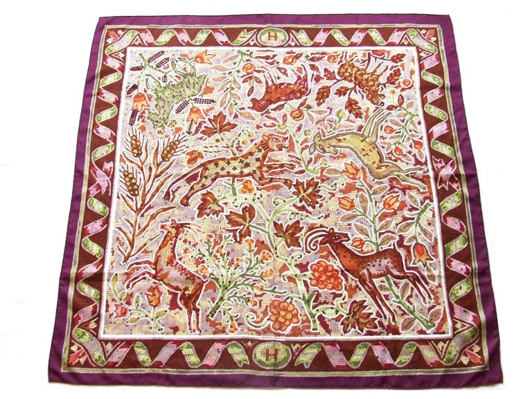 Hermes Silk Scarf Pavement Mosaic Maurice Trenchant Purple Green 90 cm For Sale 5