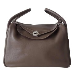 Hermes Lindy Hand Bag 2 ways Etoupe Taurillon Clemence Leather PHW 30 cm