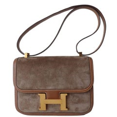 Hermes Vintage Constance Hand Bag Suede and Gold Leather GHW 23 cm