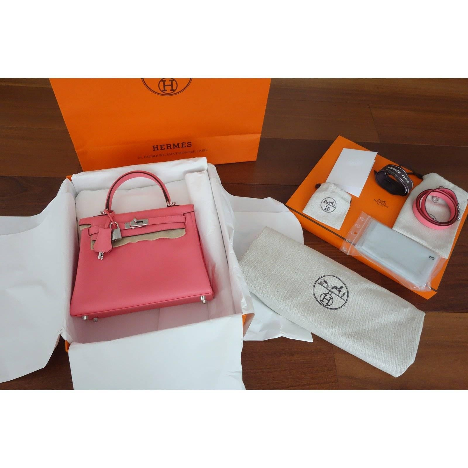 bbb66f0878da Hermès Veau Swift Rose Azalee Phw 25 cm Full Set Kelly II retourne Handbag  at 1stdibs