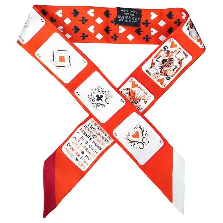 Hermès Twilly Jeu de Cartes Card Game AM Cassandre Vermillon Silk Scarf