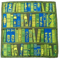 Hermes Small Silk Scarf Gavroche Pocket Square Bibliotheque Green 41 cm