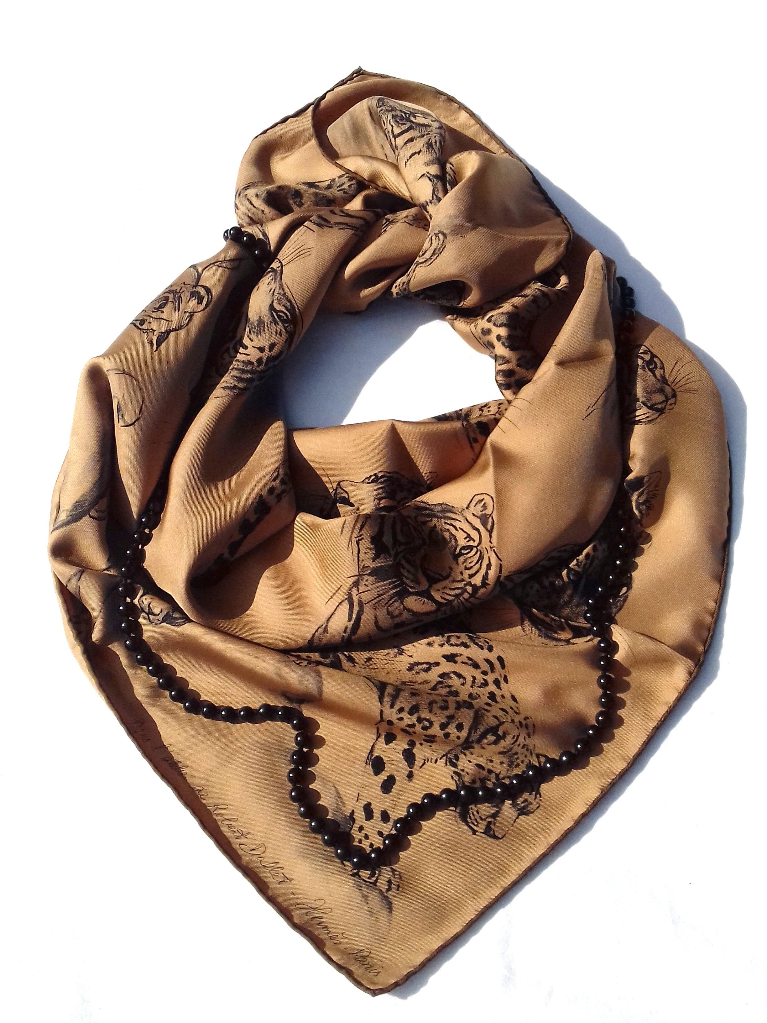 f149d29e2c56 Hermès Carré Silk Scarf Dans l Atelier de Robert Dallet Tabac 90 cm Box For  Sale at 1stdibs
