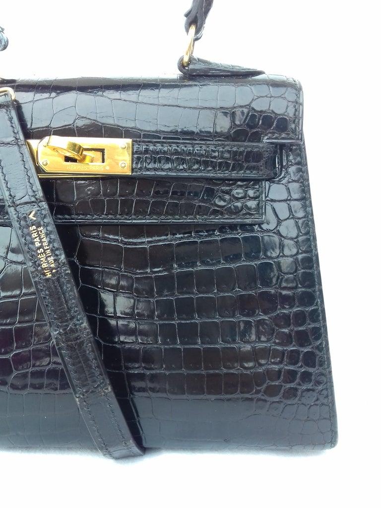 03df2dd2ee118 HERMES Seltene Mini Kelly Sellier Bag Schwarz Noir Porosus Krokodil GHW 20  cm 10