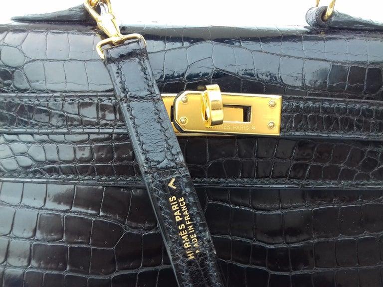50048dac4b8ce HERMES Seltene Mini Kelly Sellier Bag Schwarz Noir Porosus Krokodil GHW 20  cm 8