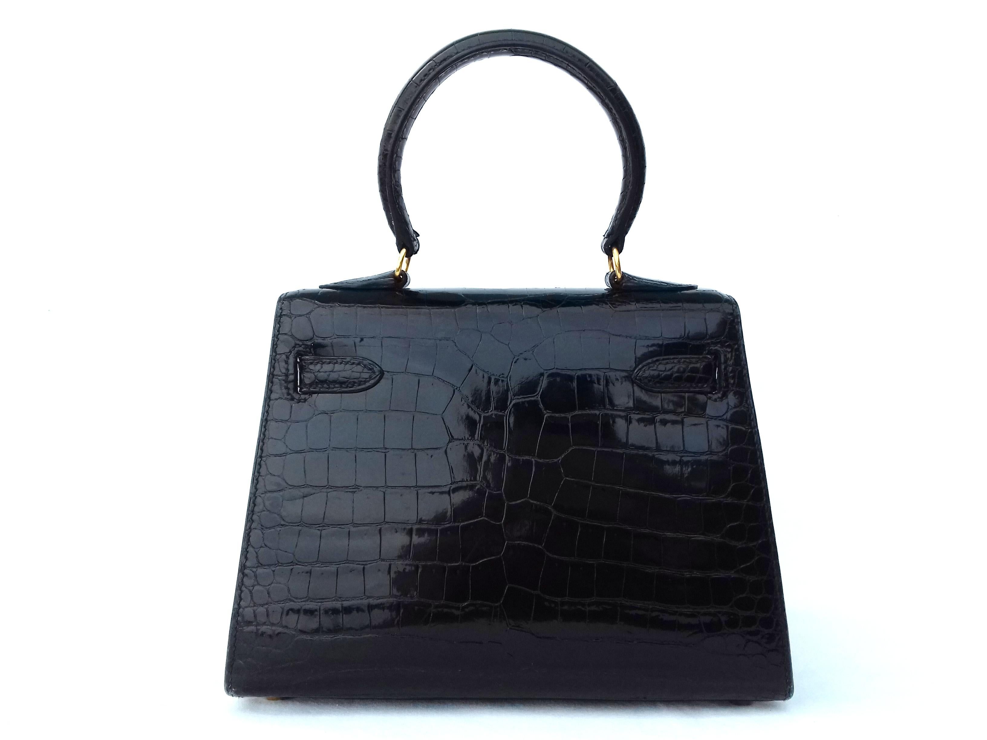 a73c96c6a0 Hermès Mini Kelly Vintage Bag Sellier Black Croco Crocodile Ghw 20 cm RARE  For Sale at 1stdibs