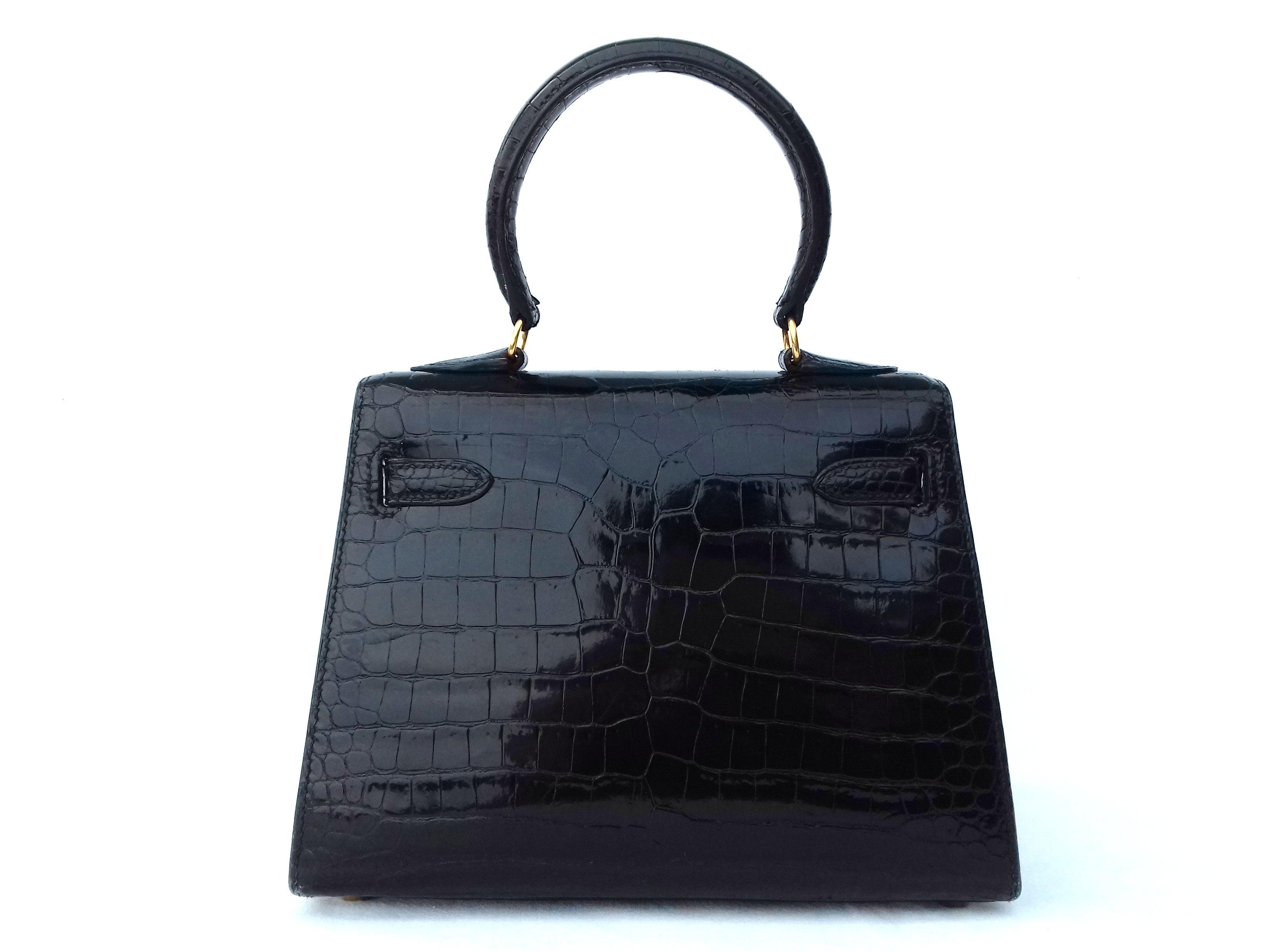 1f72e89f5732 Hermès Mini Kelly Vintage Bag Sellier Black Croco Crocodile Ghw 20 cm RARE  at 1stdibs