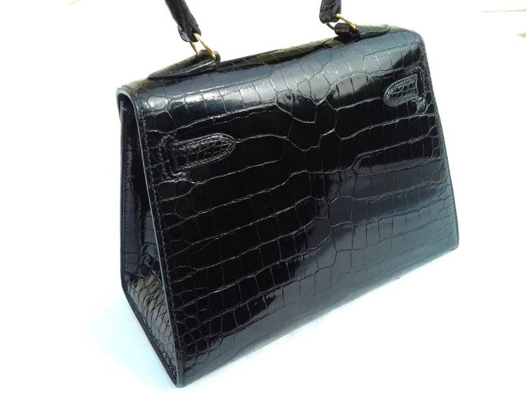 96c9924bbbe2b HERMES Seltene Mini Kelly Sellier Bag Schwarz Noir Porosus Krokodil GHW 20  cm 3