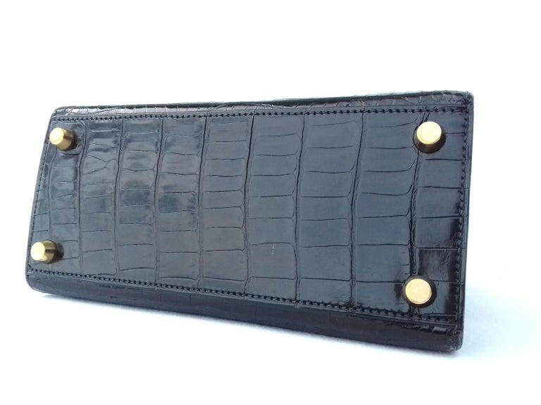 2730159decaee Women s Hermès Mini Kelly Vintage Bag Sellier Black Croco Crocodile Ghw 20  cm RARE For Sale