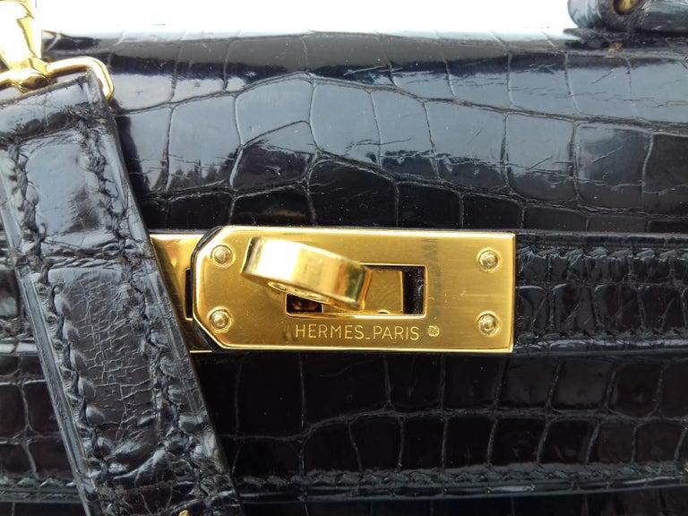 e026336744459 HERMES Seltene Mini Kelly Sellier Bag Schwarz Noir Porosus Krokodil GHW 20  cm 9