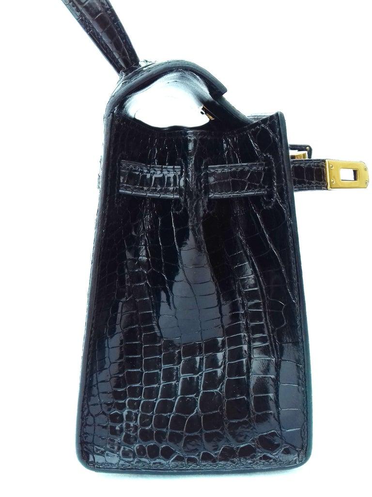 a2427deb72f9b HERMES Seltene Mini Kelly Sellier Bag Schwarz Noir Porosus Krokodil GHW 20  cm 15