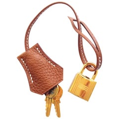 Hermès Gold Clemence Leather Clochette Tirette Golden Lock Keys for Kelly Birkin