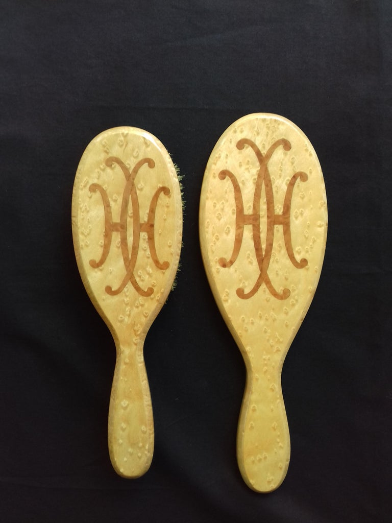 Hermès Marquetry Lacquered Wood Hair Brush and Mirror Set  For Sale 2