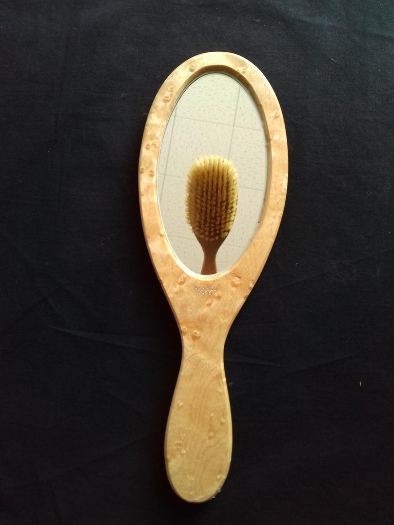 Hermès Marquetry Lacquered Wood Hair Brush and Mirror Set  For Sale 5