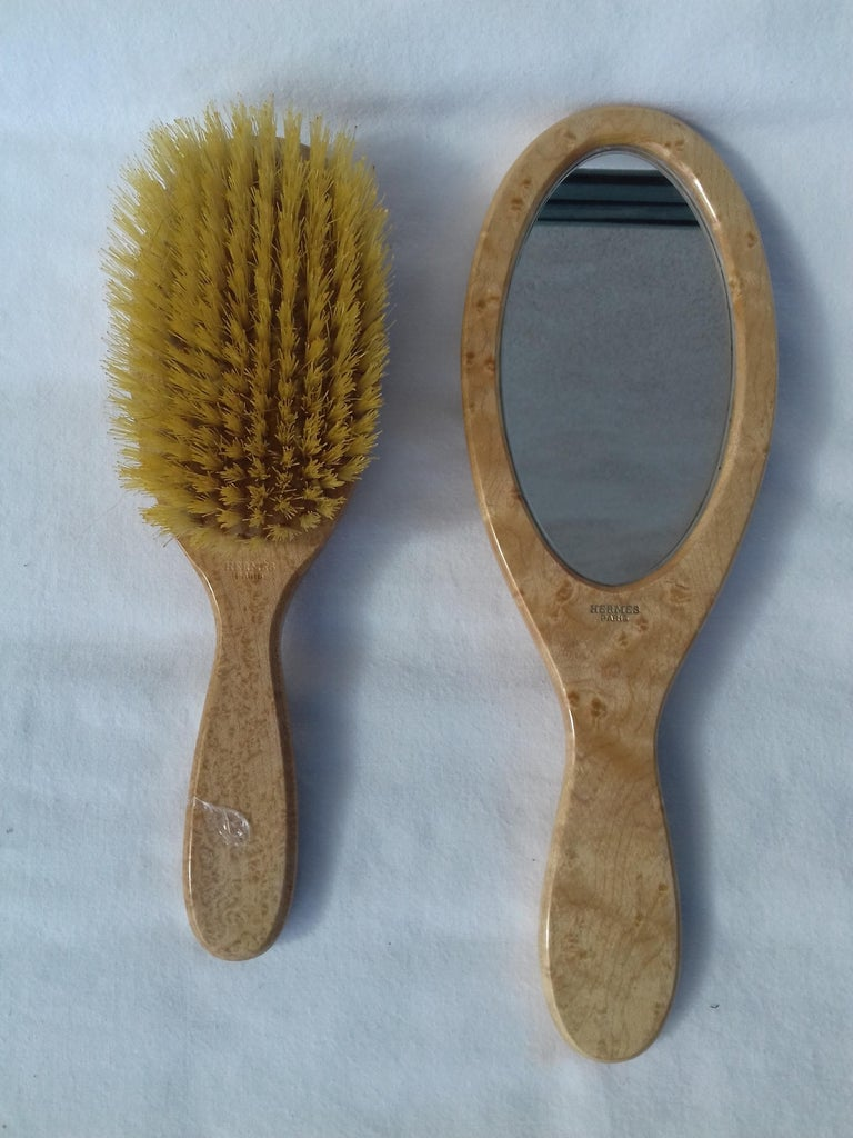 Hermès Marquetry Lacquered Wood Hair Brush and Mirror Set  For Sale 6