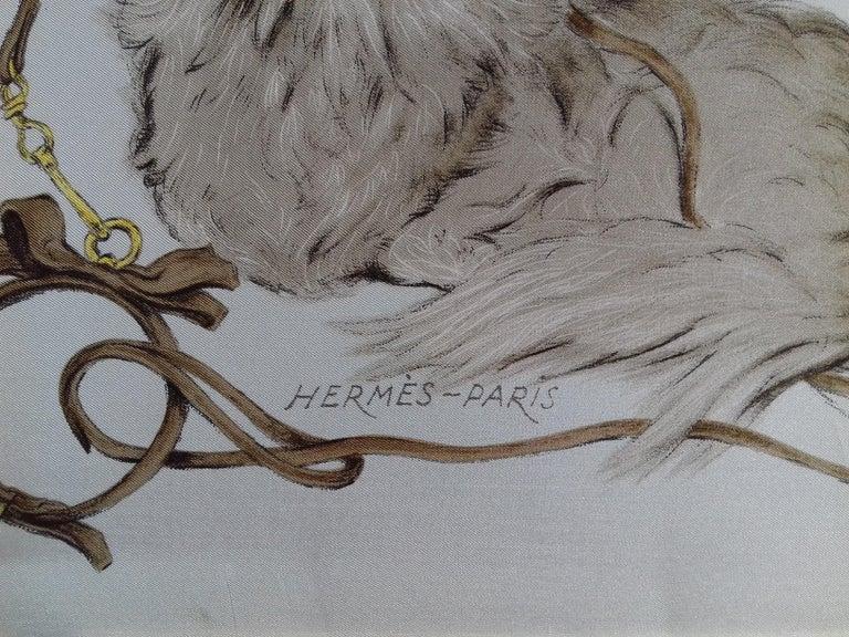 Hermès Vintage Silk Scarf Les Pekinois Xavier de Poret Pekinese in Frame 1965 For Sale 3