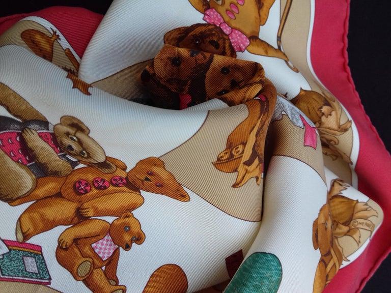 Hermès Silk Scarf Gavroche Confidents des Coeurs Bear Loic Dubigeon 43 cm For Sale 11