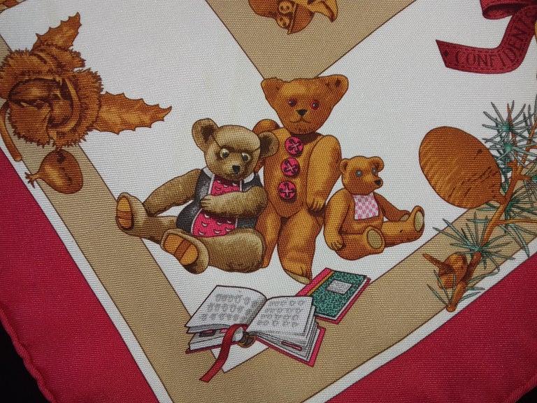 Hermès Silk Scarf Gavroche Confidents des Coeurs Bear Loic Dubigeon 43 cm For Sale 5