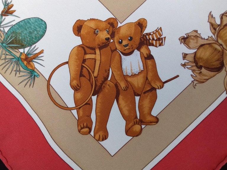 Hermès Silk Scarf Gavroche Confidents des Coeurs Bear Loic Dubigeon 43 cm For Sale 6