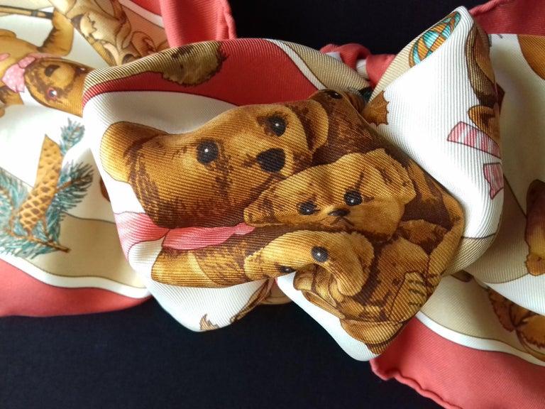 Hermès Silk Scarf Gavroche Confidents des Coeurs Bear Loic Dubigeon 43 cm For Sale 12