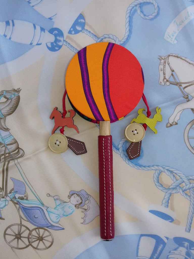 Hermès Petit H Tambourine Rattle Toy Silk Leather Wood in Box In New Condition For Sale In ., FR